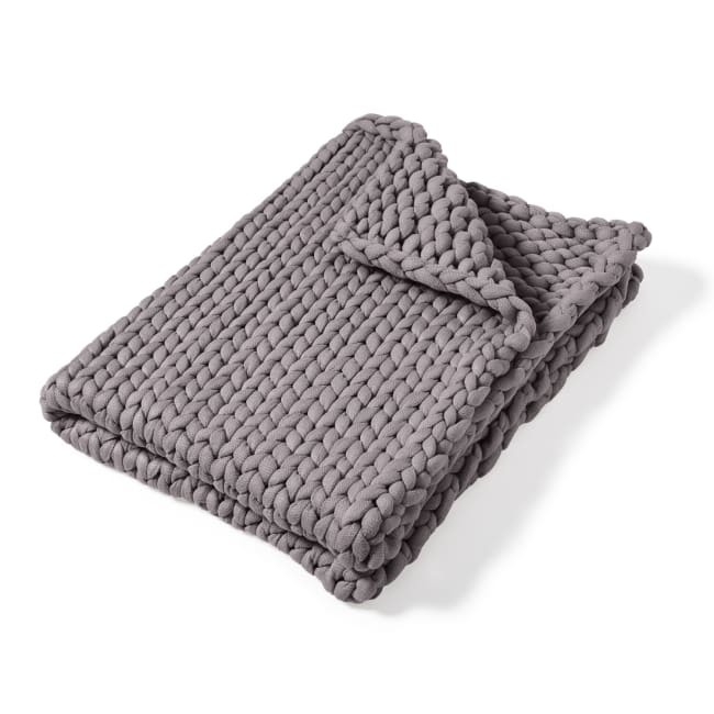 Throw, Chunky Knitted (Grey)