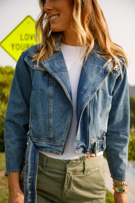 ACL Blue Denim Cropped Belted Bluejean Jacket With Zippered Pockets By A. Helm