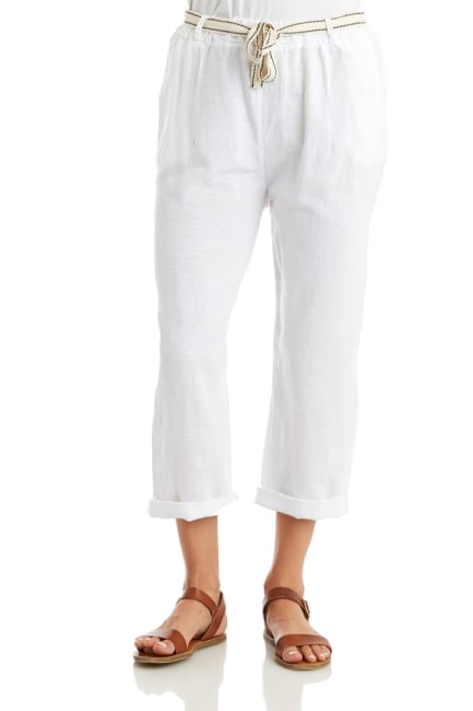 Solid Linen Cuffed Pant With Belt