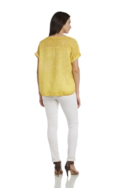 Solid Short Sleeve Pigment Wash Linen Tee With Knit Side Insets
