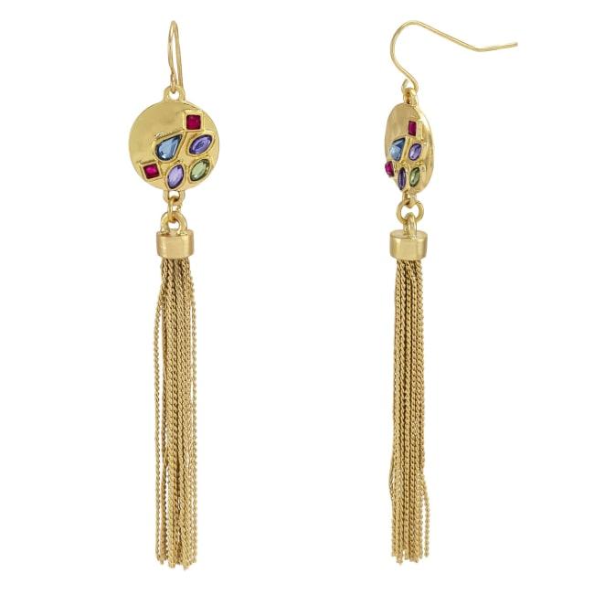 Carol Dauplaise Stone Drop Tassel Earrings