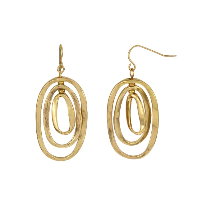 Carol Dauplaise Goldtone Triple Ring Earrings