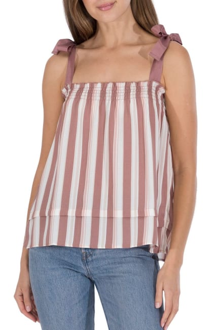 Woven Tank With Grosgrain Strap