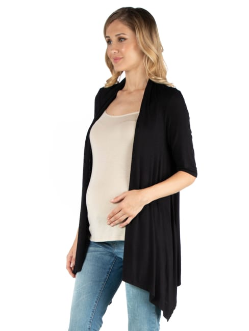 24Seven Comfort Apparel Loose Fit Open Front Maternity Cardigan With Half Sleeve