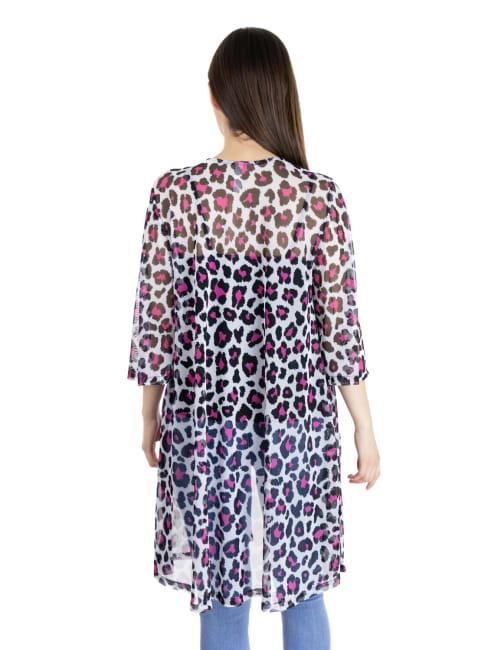 24Seven Comfort Apparel Maternity Sheer Open Front Animal Print Kimono