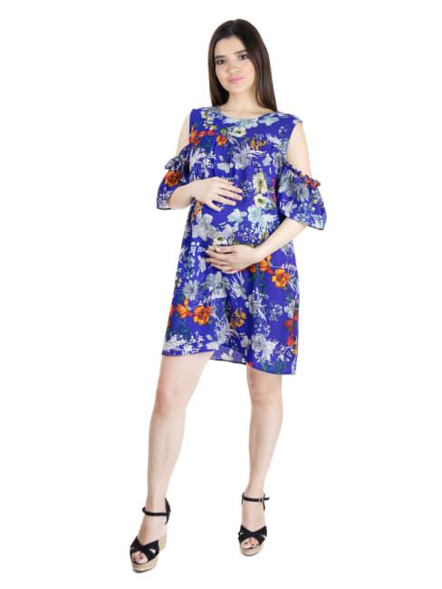 24Seven Comfort Apparel Womens Blue Floral Print Cold Shoulder Rayon Maternity Dress