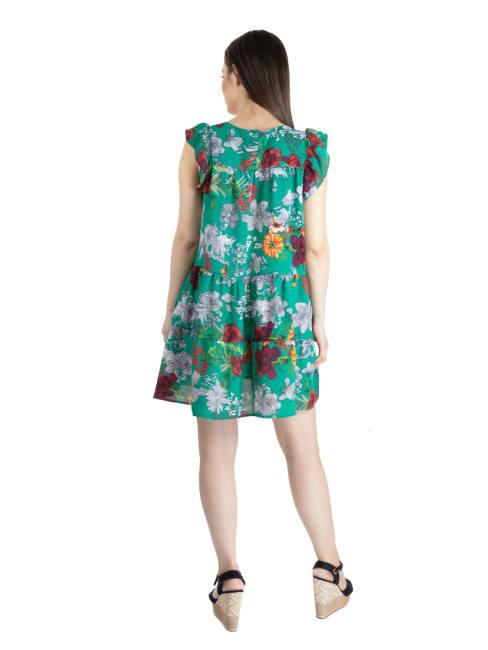 24Seven Comfort Apparel Womens Green Floral Ruffle Sleeve Rayon Maternity Dress