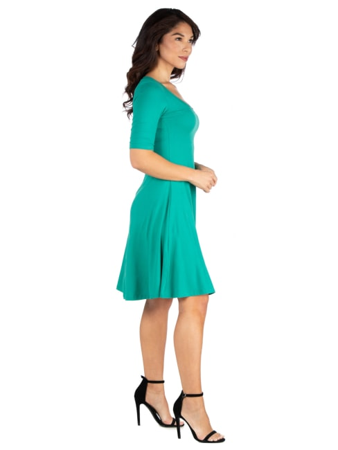 24Seven Comfort Apparel A Line Knee Length Dress Elbow Length Sleeves