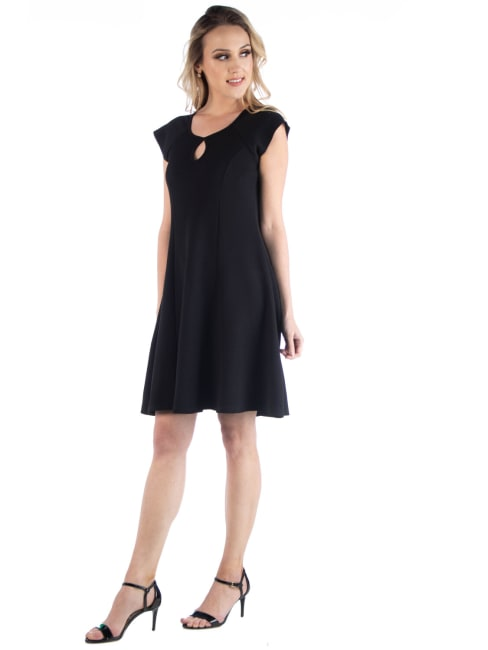 24Seven Comfort Apparel Scoop Neck A Line Dress With Keyhole Detail