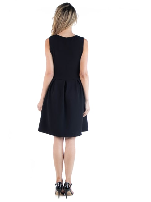24Seven Comfort Apparel Sleeveless Pleated Skater Dress With Pockets