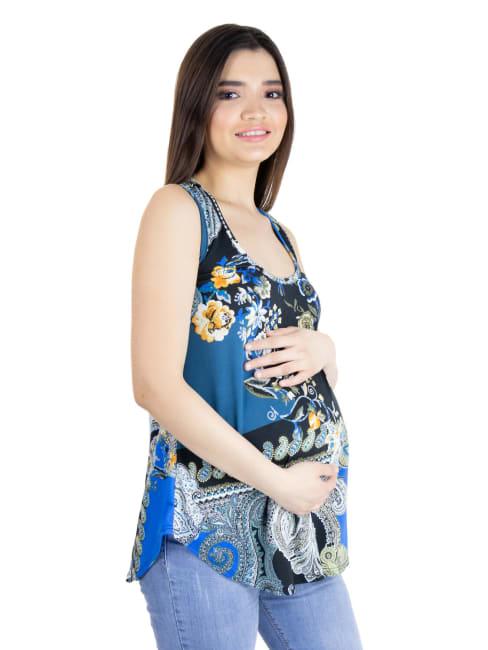 24Seven Comfort Apparel Blue Paisley Rounded Hem Razorback Maternity Tank Top