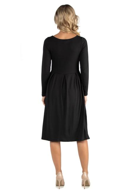 24Seven Comfort Apparel Midi Length Fit N Flare Pocket Maternity Dress