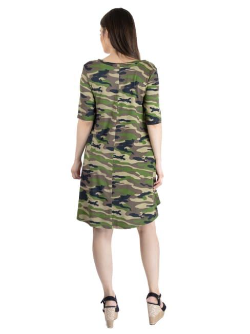 24Seven Comfort Apparel Camo Print Short Sleeve Pocket Maternity T Shirt Dress