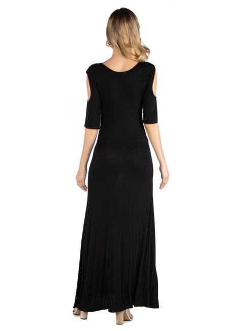 24Seven Comfort Apparel Half Sleeve Open Shoulder Maternity Maxi Dress