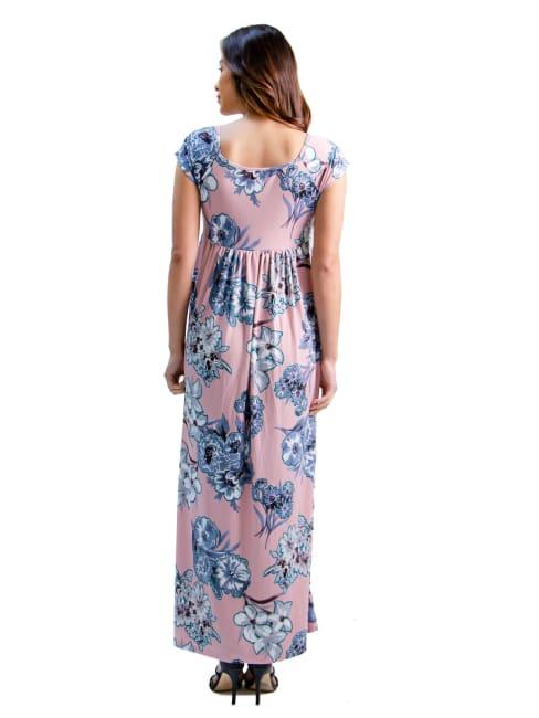 24Seven Comfort Apparel Rose Pink Pleated Empire Waist Maxi Dress