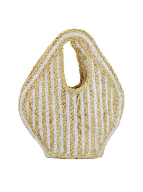Petite Straw Woven Cut Out Handle Jute Tote