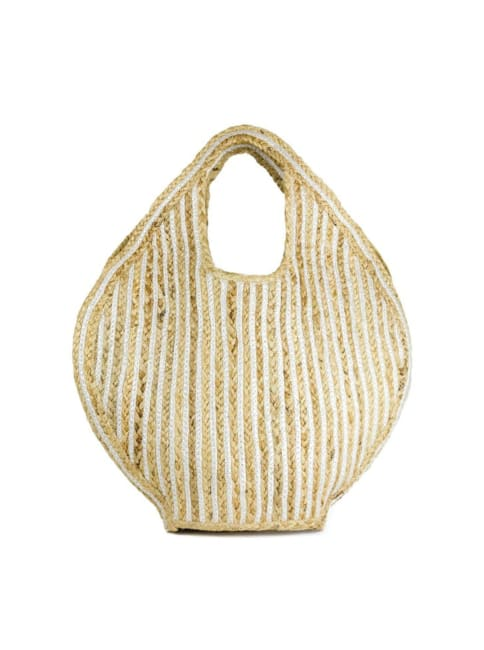 Straw Woven Cut Out Handle Jute Tote