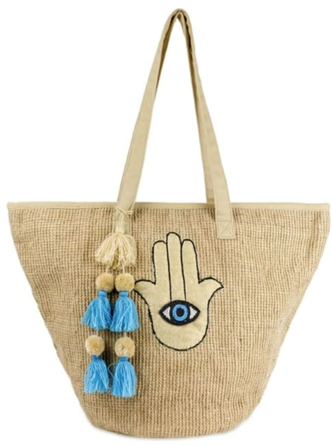 Jute Straw Evil Eye Hamsa Hand Tassel Tote