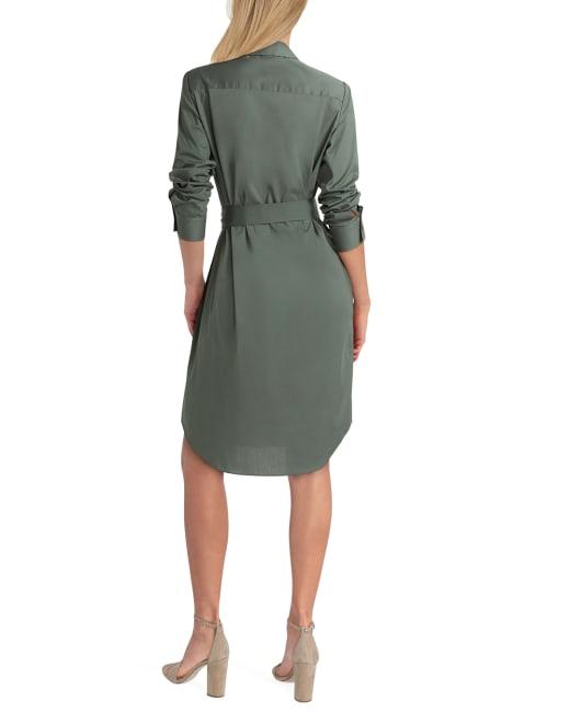 Isaac Mizrahi Long Sleeves Button Front Shirt Dress