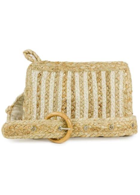 Striped Woven Straw Waist Belt Bag