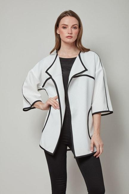 Dora Landa Basketweave contrast color tipped Fleur Jacket