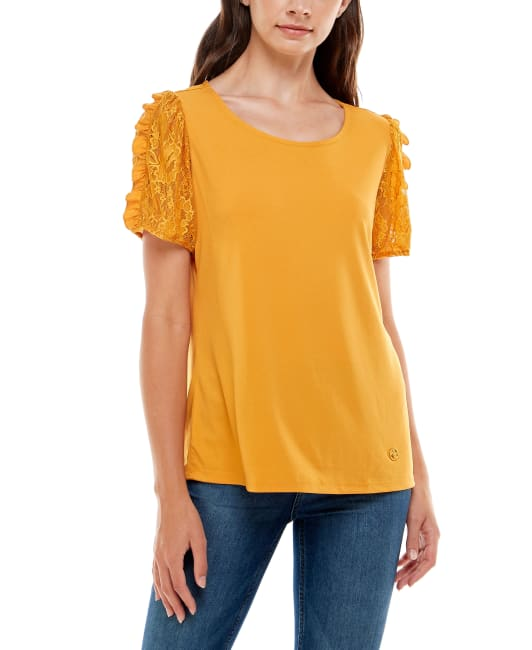 Adrienne Vittadini Short Sleeve With Lace Sleeves Top