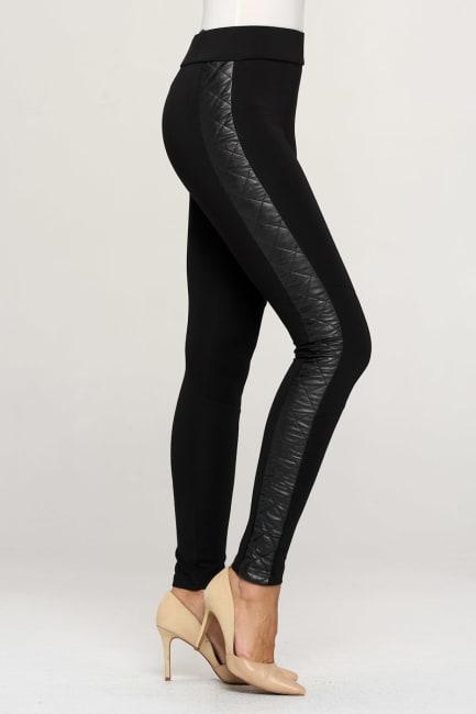 KAII Vegan Leather Quilted Side Legging