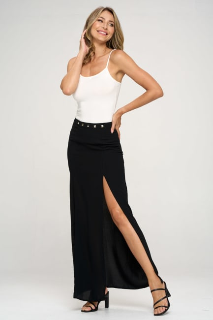 KAII High Slit Stud Skirt