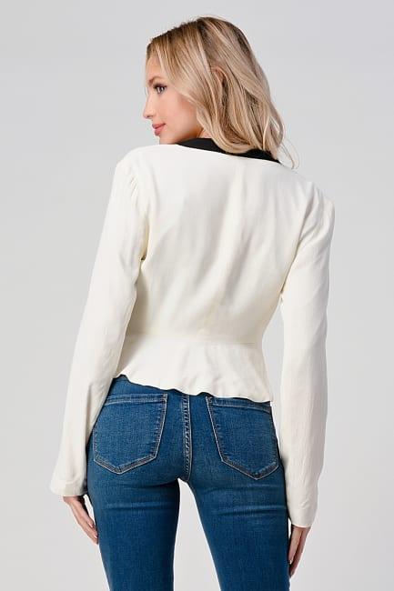 KAII Women's Color Blocked Crepe Fashion Blazer