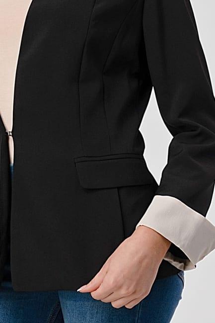 KAII Collarless  With Contrast Cuff Blazer