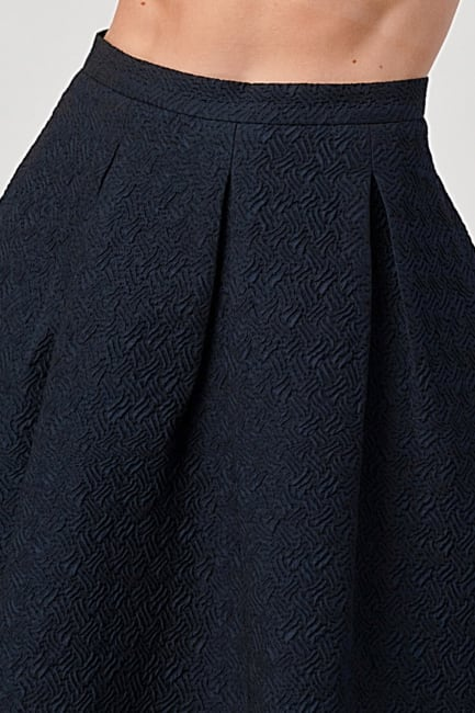 KAII Pleated Waist Mid Length Puffy Skirt