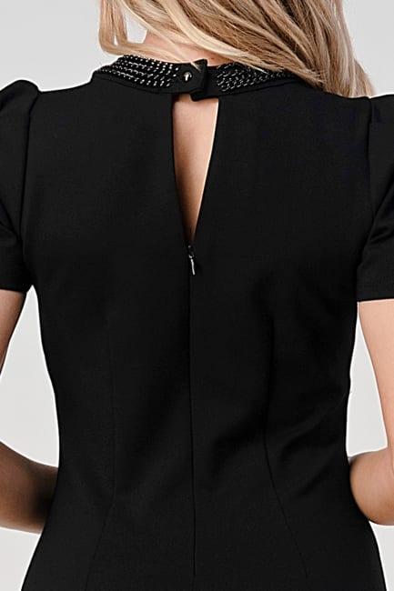 KAII Puff Sleeve Chain Neck Detail Ponti Dress
