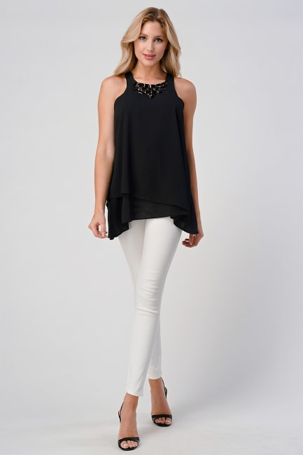 KAII Front Racer Double Layer With Jeweled Neck Top