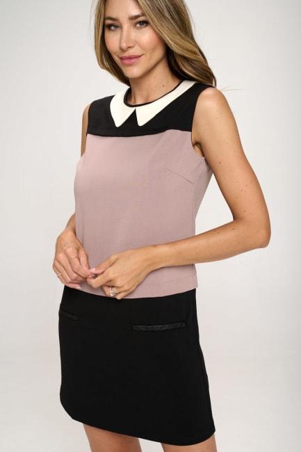 KAII Color Blocked Vegan Leather Contrast Dress