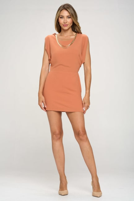 KAII Grecian With Gold Chain Necklace Tunic
