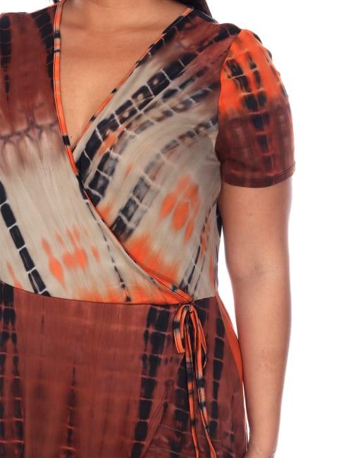 Tie Dye Print V-Neck Wrap Dress - Plus
