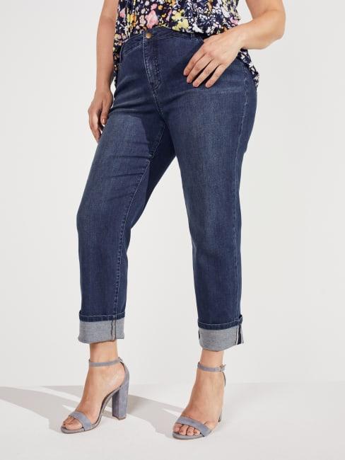 Peck & Peck Dark Wash Plus Signature Girlfriend 5 Pocket Denim Jean With Selvedge Cuff Jeans