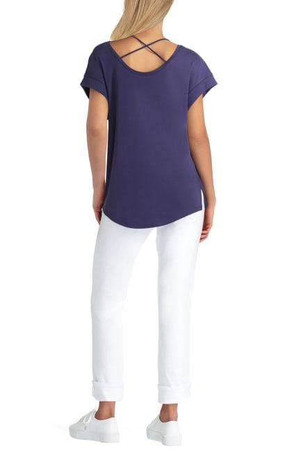 H Halston Studio Short Sleeve Crossover Neck Pullover