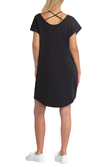 H Halston Studio Short Sleeve Crossover Neck Dress