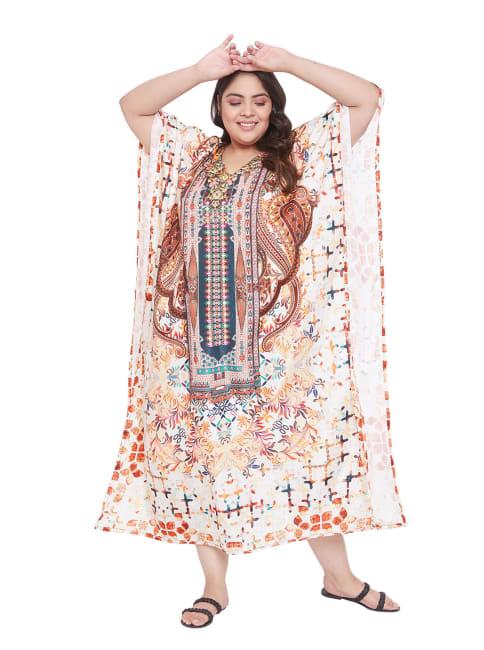 Beach Wear Caftan Multicolor Dress - Plus