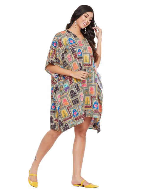 Women Plus Size Short Tunic Dress, Multicolor