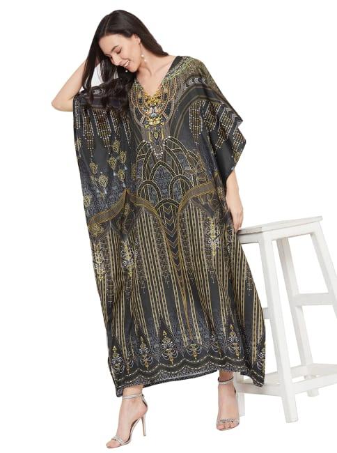 Loose V- Neck Gown Kaftan Dress - Plus