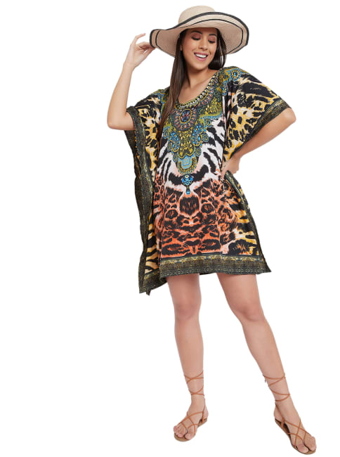 Mini Short Sleeve Tunic Kaftan Dress - Plus