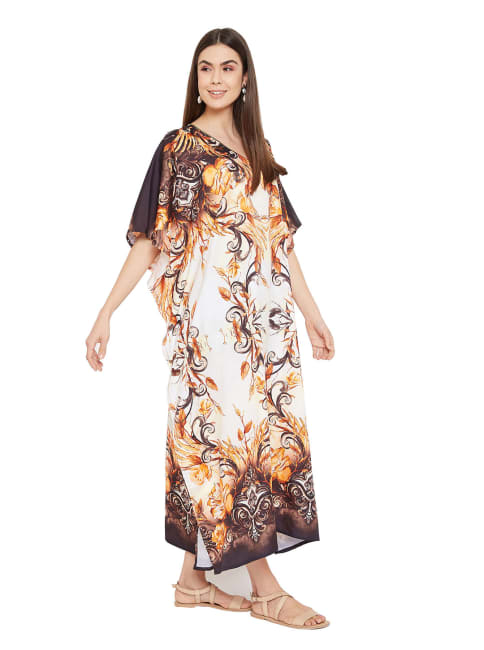 Polyester Digital Printed Kaftan Dress - Plus