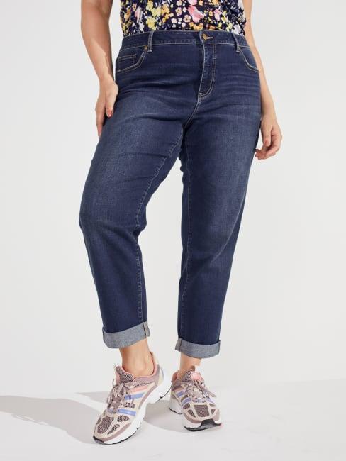 Plus Peck & Peck Dark Wash Plus Signature Girlfriend 5 Pocket Denim Jean With Double Rolled Cuff