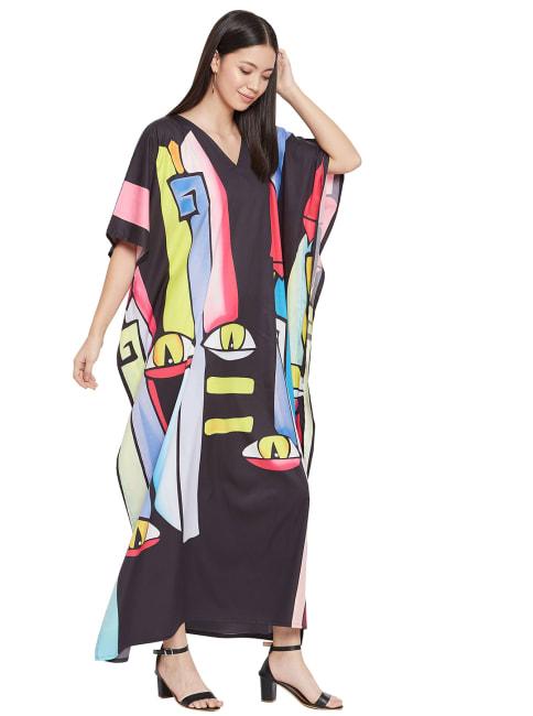 Beach Wear V-Neck Kaftan Dress - Plus