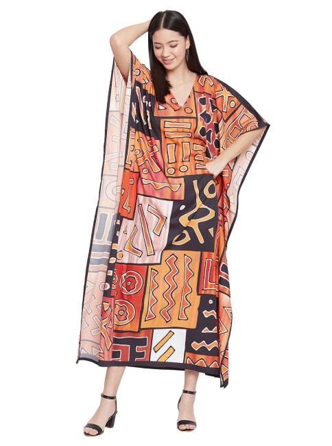 Loose V- Neck Gown Kaftan - Plus