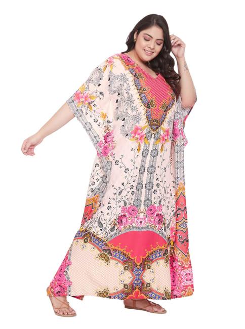 Floral Pattern Long Kaftan - Plus
