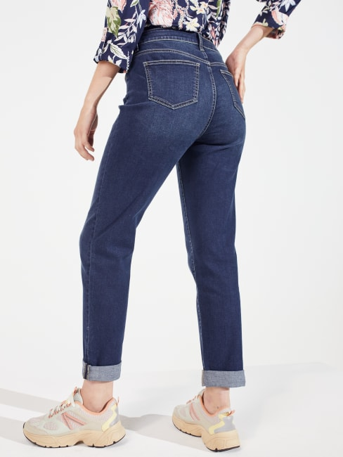Peck & Peck Dark Wash  Signature Girlfriend 5 Pocket Denim Jean With Double Rolled Cuff