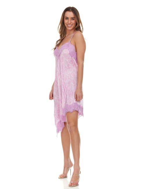 Python Printed Slip Dress With Lace Trim